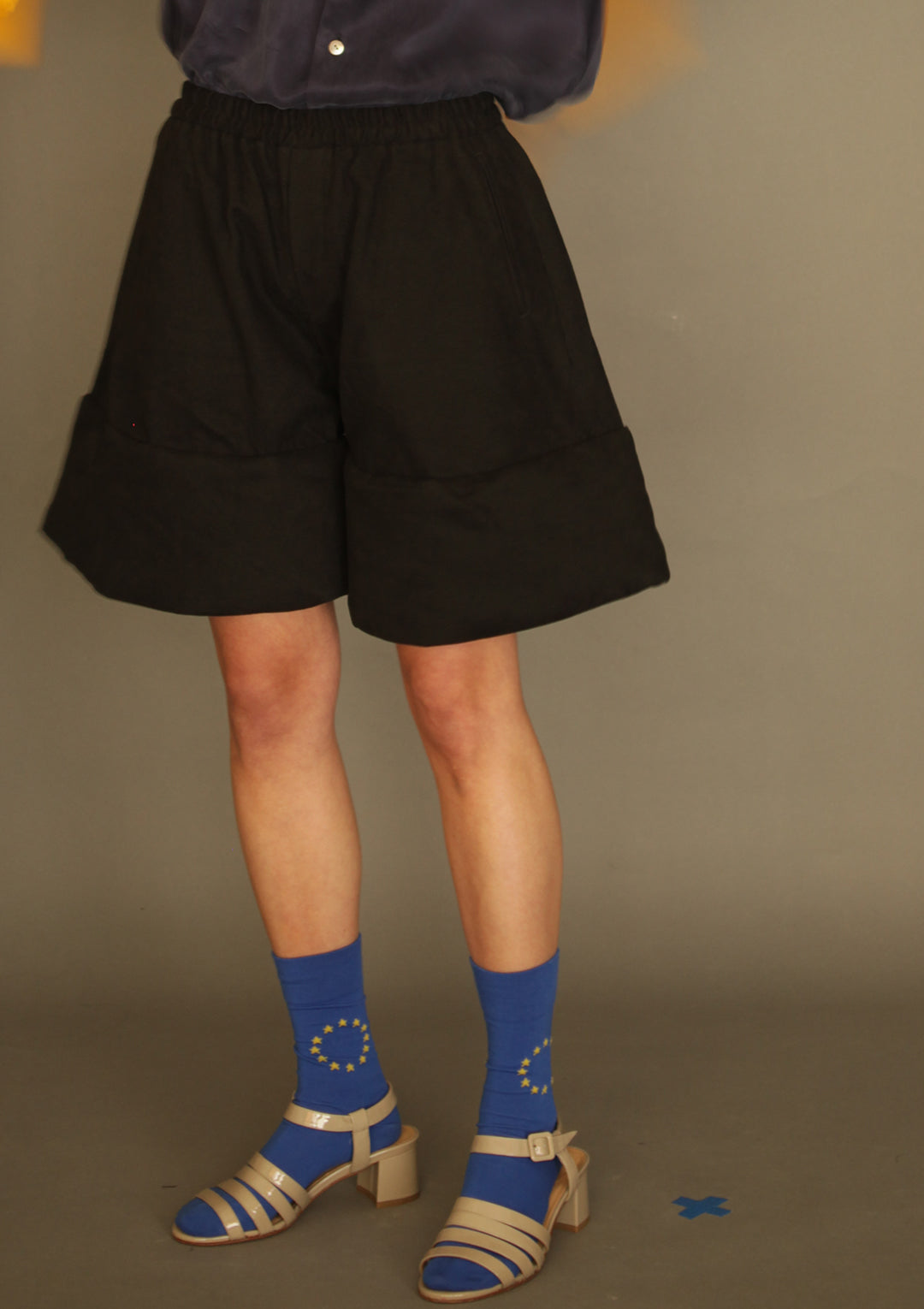DANSHAN Black Padded Sculpture Shorts
