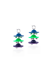 Three spaceship earrings