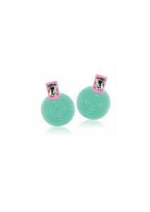 Diamond Green Frisbee Earrings