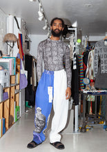 PRONOUNCE TERRA-COTTA WARRIORS Print Blue&white stitching straight trousers