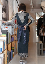 John Galliano Vintage Rare Thick Corduroy Dress With Polka Silk Scarf