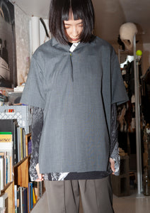 Kolor Grey Wool Top with China Knot
