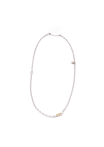 Cubic-zirconia & pearl chain necklace