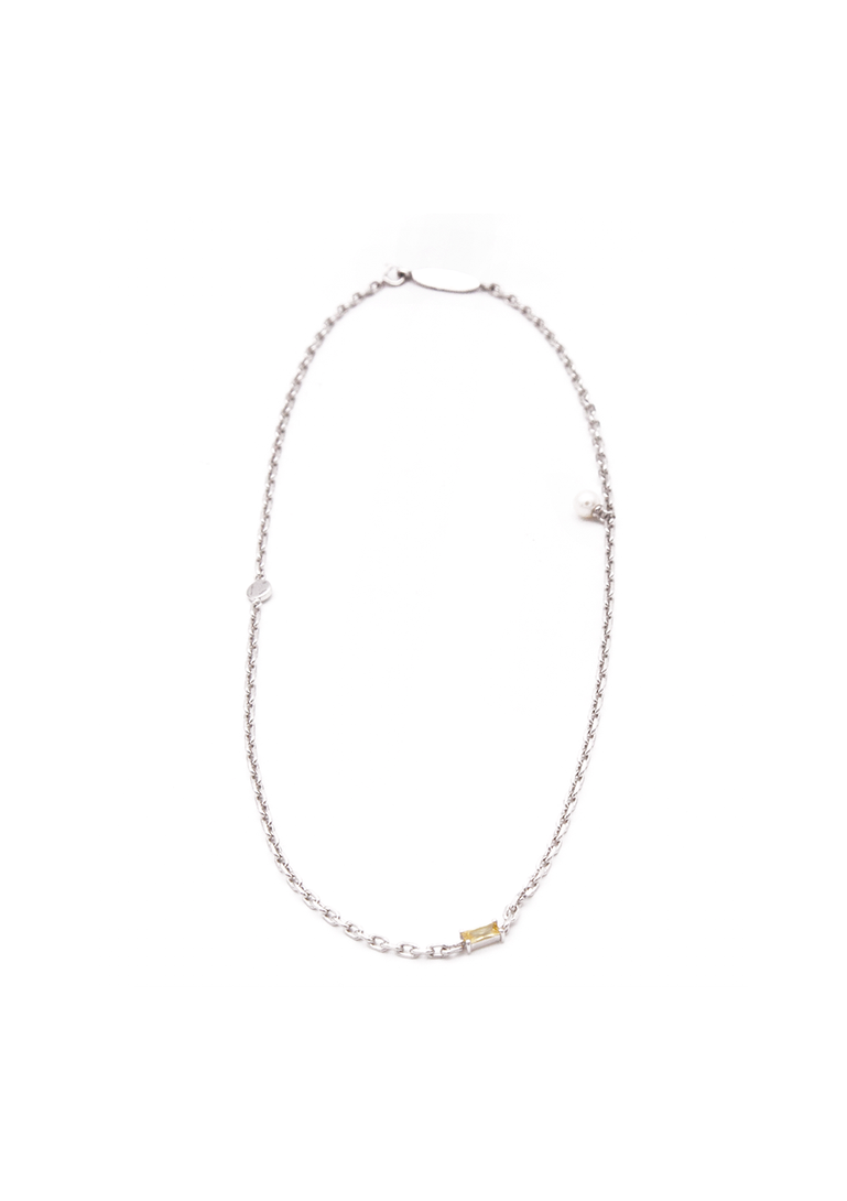 (pre-order) Cubic-zirconia & pearl chain necklace