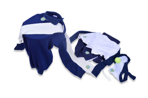 GB152- SWEATER AND SCARF - KIT (NAVY - PASTEL GREEN)