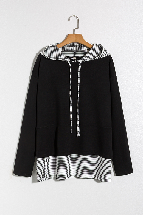 Lbduk Trendy Striped Patchwork Hoodie