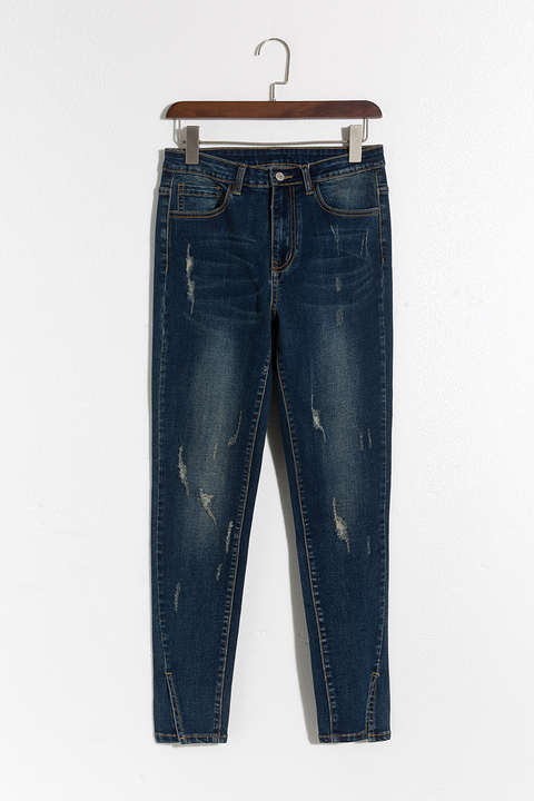 Lbduk Trendy Worn Out Deep Blue Jeans
