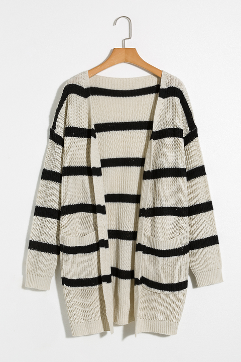 Lbduk Carefree Pocketed Contrast Striped Cardigan