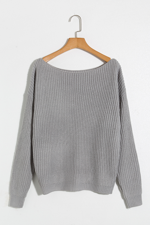 Lbduk Stylish One Off Shoulder Raglan Sleeve Grey Sweater