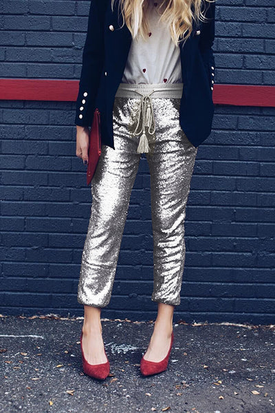 Lbduk Sparks Fly Sequin Joggers With Belt