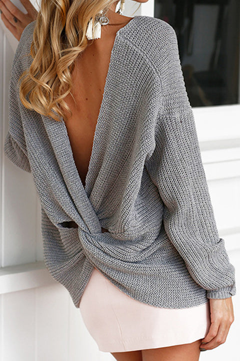Sexy Lady V Neck Twisted Knit Sweater