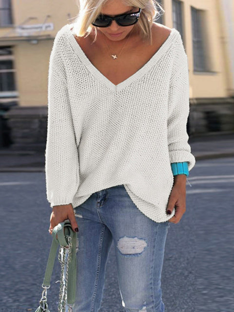 Lbduk Leisure V Neck Long Sleeves Wool Sweater
