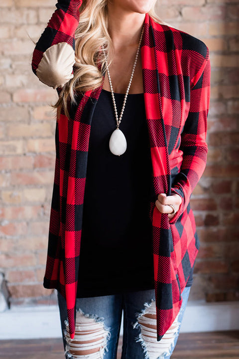 Lbduk Check Plaid Elbow Patched Cardigan