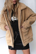 Lbduk Fashionable Fuzzy Dual Pocket Coat