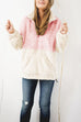 Lbduk Weekend Two Tone Zip-Up Pocketed Fuzzy Sweatshirt