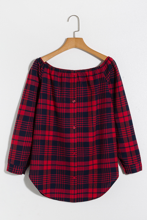 Lbduk Off The Shoulder Buttons Front Plaid Blouse 3 Colours