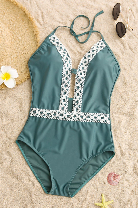 Lbduk Lace Splicing Hollow Out Halter Swimsuit