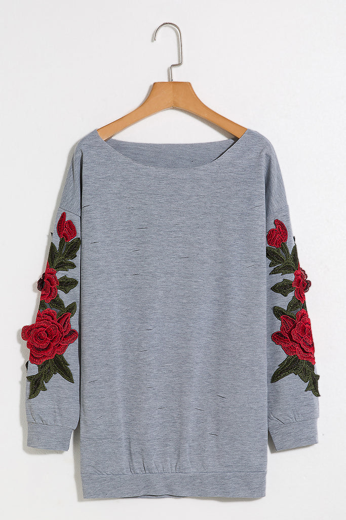 Lbduk Rose Embroidered Applique Ripped Detail One Off Shoulder Sweatshirt