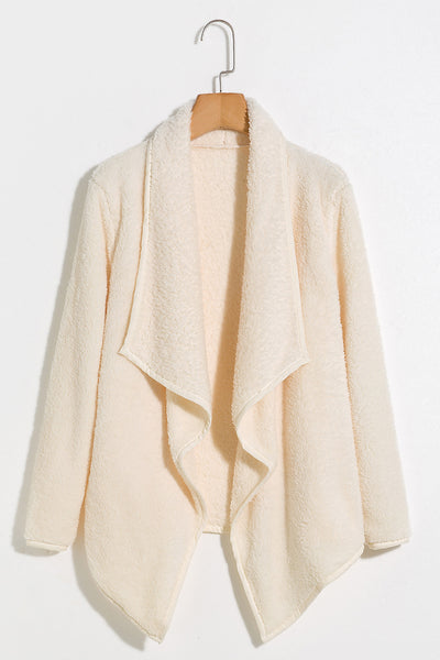 Lbduk Draped Collar Beige Velvet Fuzzy Coat