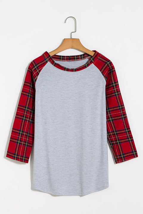 Lbduk Contrast Plaid Sleeve Dip Hem T-shirt