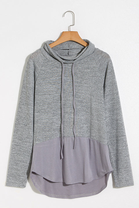 Lbduk Leisure Grey Colorblock Dolphin Hem Hooded Shirt