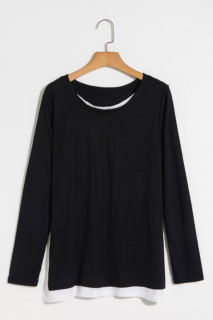 Lbduk Contrast Collar And Hem Split 2 In 1 T-Shirt