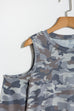 Lbduk Casual Open Shoulder Camouflage Print T-shirt