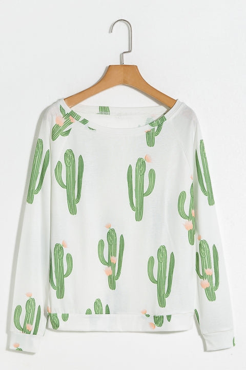 Lbduk In The Desert Cactus Printing White T-shirt