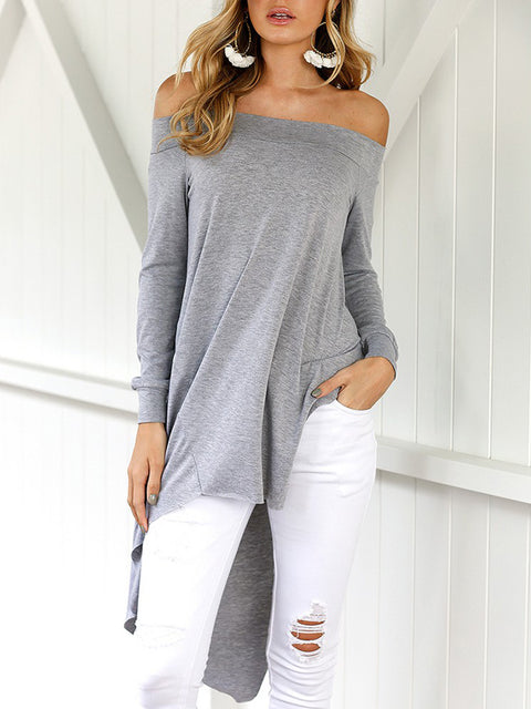 Lbduk Off The Shoulder Asymmetrical Hem Blouse