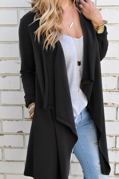 Lbduk Asymmetrical Draped Collar Cardigan