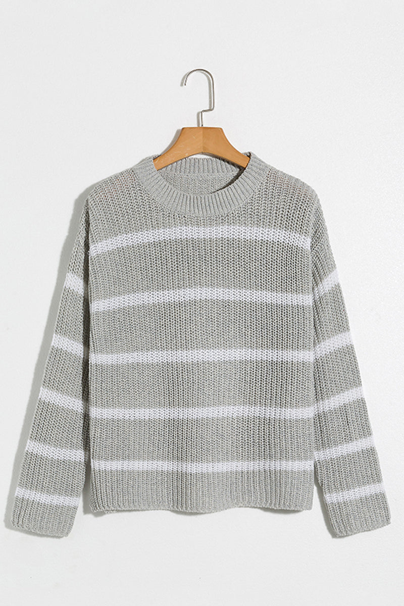 Lbduk Fashionable Striped Knit Sweater