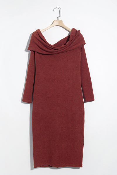 Lbduk Sexy Bateau Neck Brick-Red  Mid Calf Dress