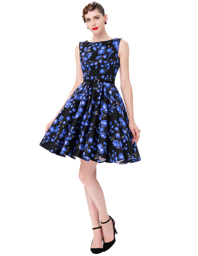 Grace Karin A Line Floral Print Sleeveless Swing Vintage Dress With Belt_Navy Blue