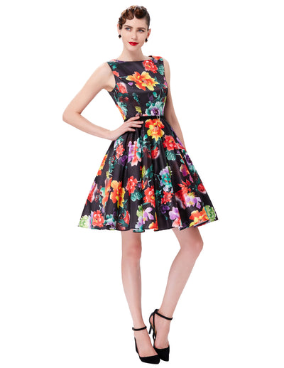 Grace Karin A Line Boatneck Floral Print Sleeveless Swing Vintage Dress With Belt