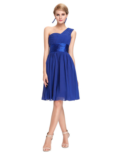 Grace Karin Ruffles One Shoulder Ball Gown Bridesmaid Homecoming Dress_Blue