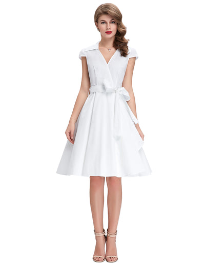 Solid Color Retro V-Neck Knee-Length Party Dress with Belt