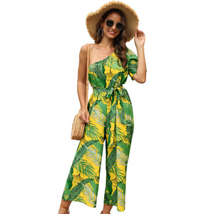 Women's Print One Shoulder Casual Jumpsuit Vacation High Waist Strap One-piece