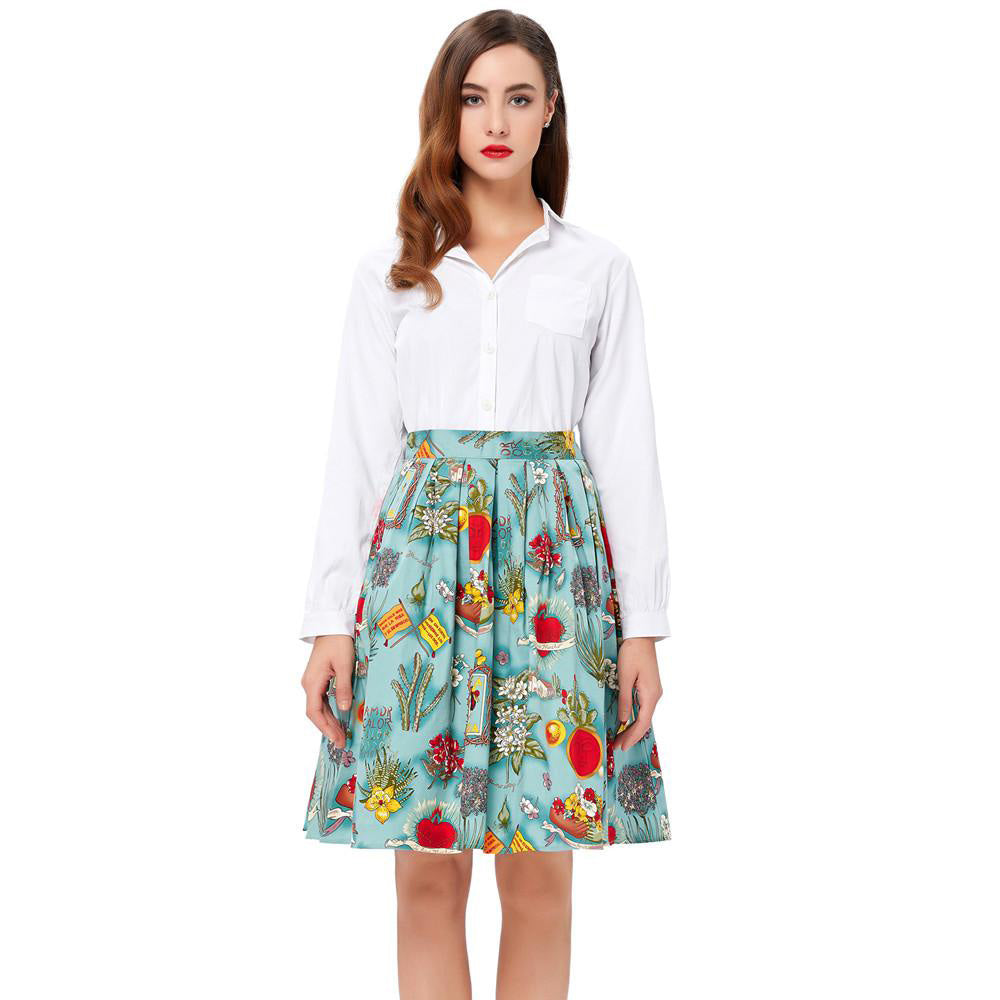 Best Seller-Floral Pattern Print A Line Skirt for Women