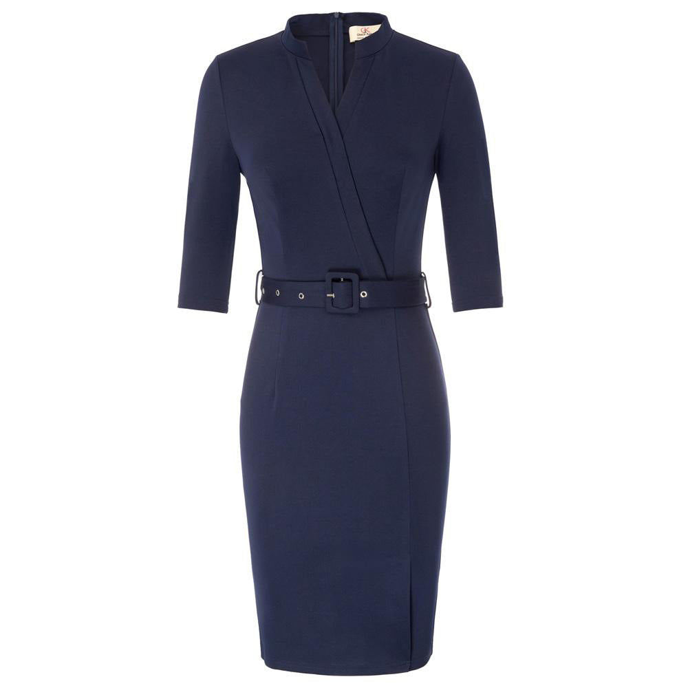 Women 3/4 Sleeve V-Neck Office Split Front Hips-Wrapped Bodycon Pencil Dress - PRESALE