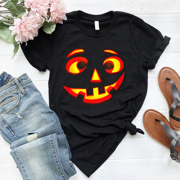 Happy Halloween Pumpkin Face Cute Round Neck T-Shirts