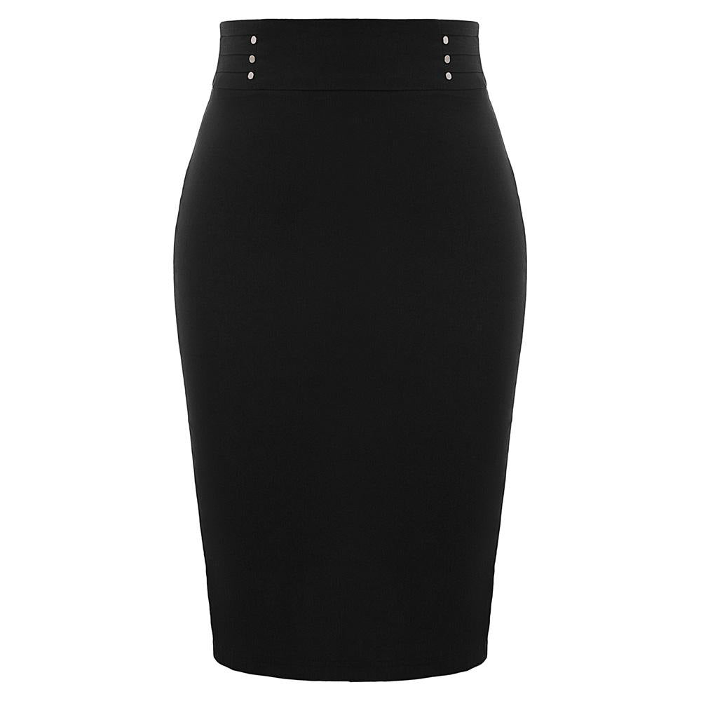 GK Women High Stretchy Flat Studs Decorated Hips-wrapped Bodycon Pencil Skirt