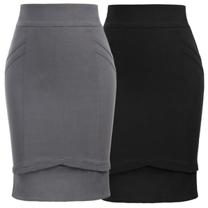 GK Women's Vintage Solid Color High Stretchy Hips-wrapped Bodycon Pencil Skirt