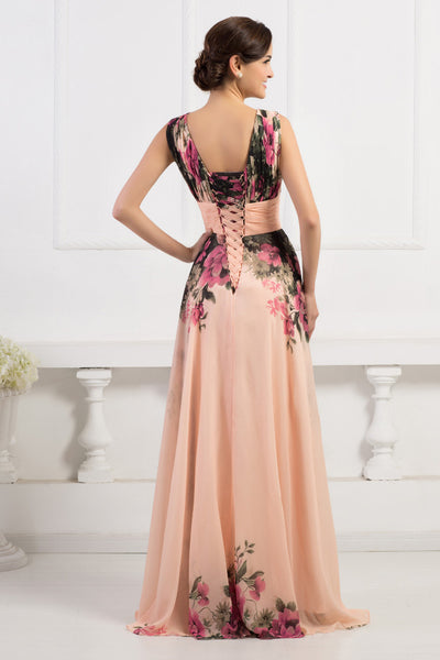 Copy of Deep V-Neck Flower Pattern Chiffon Long Bridesmaid Dress
