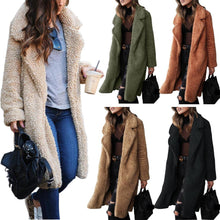 Load image into Gallery viewer, Long-sleeved plush top lamb wool long coat