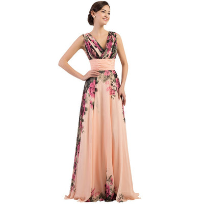 Grace Karin Modern and Eco-Friendly Sleeveless Deep V-Neck Flower Pattern Chiffon Full_Length A-Line Bridesmaid Evening Dress