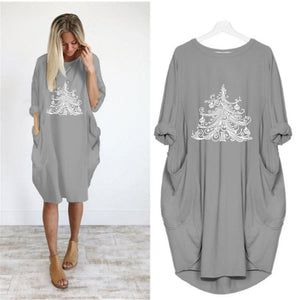 Christmas Tee Print Loose Round Neck Dress