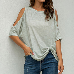 Solid Hollow Out Shirts Tops