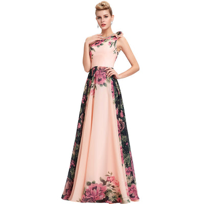Grace Karin Eco-Friendly One Shoulder Sleeveless Flower Pattern Long Chiffon Floral Print Plus Size Bridesmaid Evenging