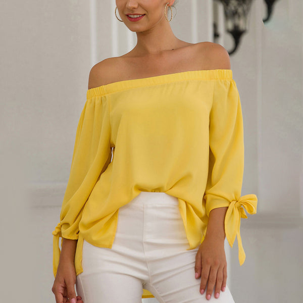 Women Tops Blouse Summer Off Shoulder Long Sleeve Bow-Knot Solid Color Fashion