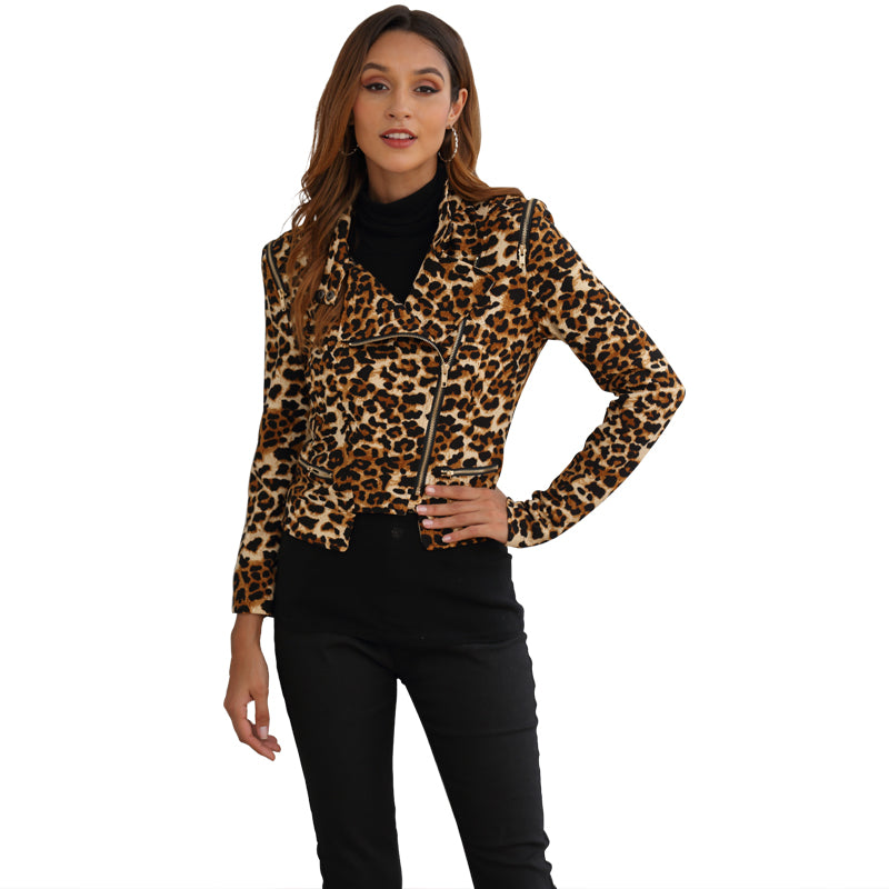 Women Coat Jacket Leopard Lapel Long Sleeve Zipper Waist Tightening Cool